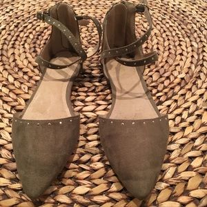 Old Navy olive green studded flats